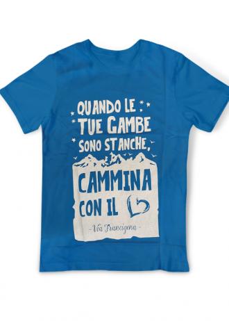 T-Shirt Cammina con il Cuore Azzurra