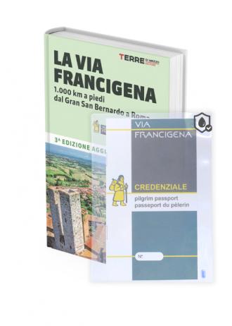 Kit Francigena: Credenziale + Guida in Italiano + Busta impermeabile